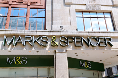LONDON JULY 1, 2014: Inscription of an Oxford street branch of MARK & SPENSER. The Group made profit before tax of ?280.6m in the 6 months ended September 2013 (last year 280.0m). Editorial