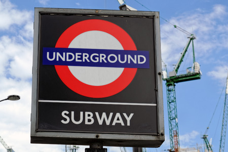 LONDON, ENGLAND - JULY 1, 2014: London Underground sign. The London Underground is the oldest underground railway in the world covering 402 km of tracks.
