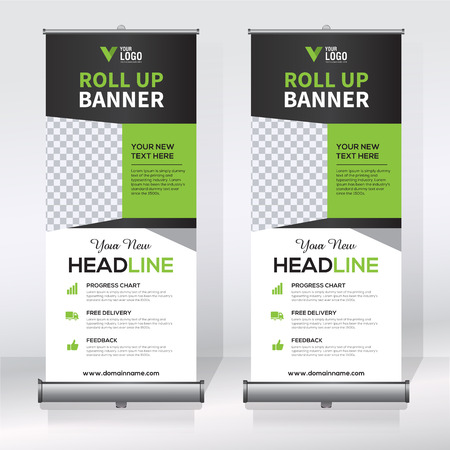 Roll Up Banner Design Template, Abstract Background, Pull Up ...