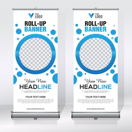 Roll up banner design template, abstract background, pull up design, modern x-banner, rectangle size.
