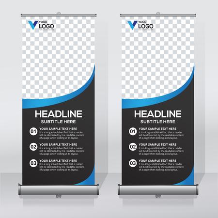 Roll up banner, pull up banner, x-banner, modern vertical new vector design template.