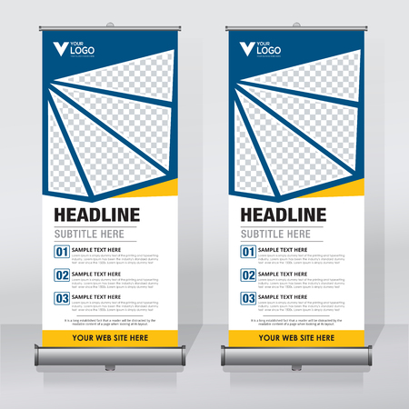 Roll up banner, pull up banner, x-banner, modern vertical new vector design template