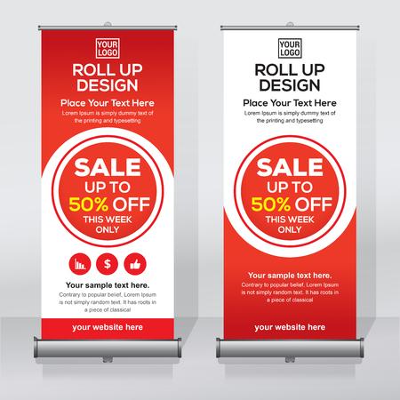 Roll up banner, pull up banner, x-banner, modern vertical new vector design template Vector Illustration