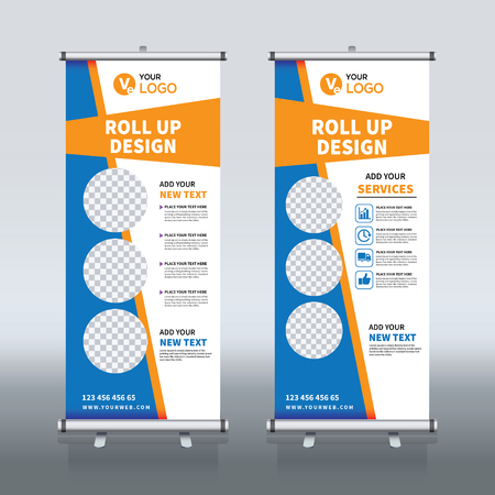 Roll-up banner ontwerpsjabloon, verticale, abstracte achtergrond, pull-up ontwerp, moderne x-banner, rechthoekgrootte.