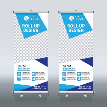 バナーデザインテンプレート、垂直、抽象的な背景、プルアップデザイン、現代のXバナー、長方形のサイズをロールアップ。  イラスト・ベクター素材