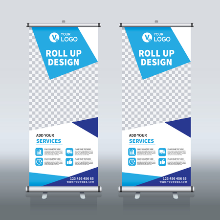 Roll up banner design template, vertical, abstract background, pull up design, modern x-banner, rectangle size. Vektorové ilustrace