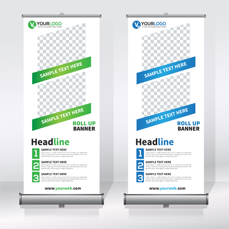 Roll up banner design template, vertical, abstract background, pull up design, modern x-banner, rectangle size.