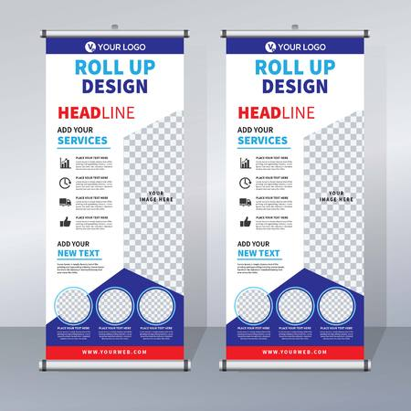 Roll up banner design template, vertical, abstract background, pull up design, modern banner, rectangle size.