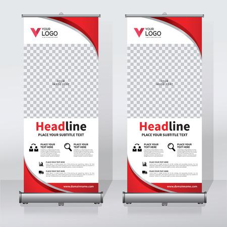 Roll-up banner ontwerpsjabloon, verticale, abstracte achtergrond, pull-up ontwerp, moderne banner, rechthoek grootte.