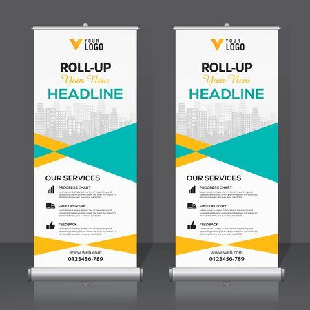 Roll up banner, pull up banner, x-banner, modern vertical new vector design template