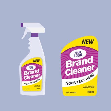 Cleaner, laundry detergent bottle label, toilet or sink cleaner, creative package banner design template. Mock up design and vector illustration. Illustration