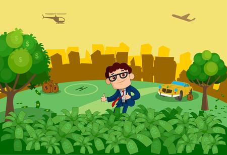 industrialist: A business man standing in money tree