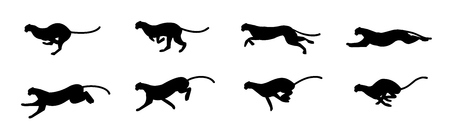 Cheetah Running animation sprite sheet, Run cycle, silhouette