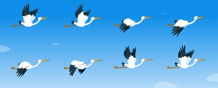 Stork Flying cycle animation vector illustration