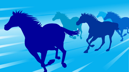 Running horses on blue background, vector illustration. 向量圖像