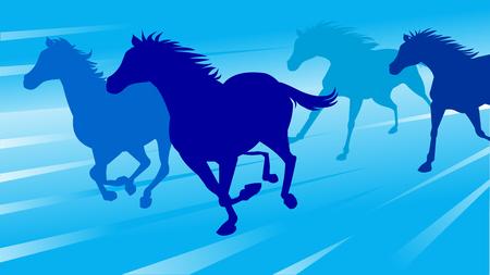 Running horses on blue background, vector illustration. 向量圖像