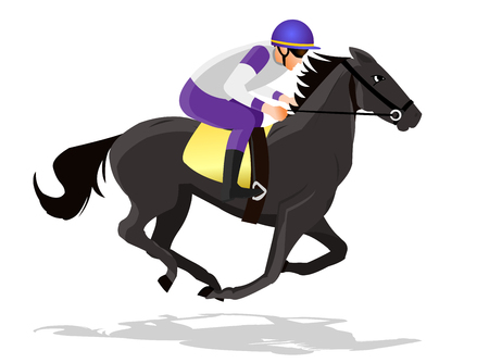 Horse race silhouette with jockey, vector illustration. Illusztráció