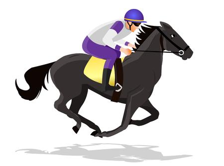 Horse race silhouette with jockey, vector illustration. Stock Illustratie