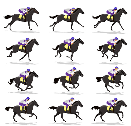 Horse Run Cycle animation Sprite sheet,Horse race Silhouette,  Racecourse, Jokey, Rider