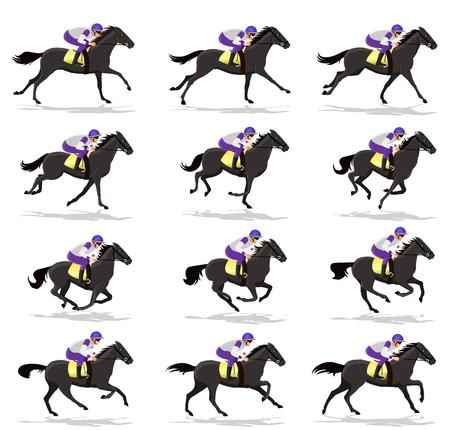 Horse Run Cycle animation Sprite sheet,Horse race Silhouette,  Racecourse, Jokey, Rider