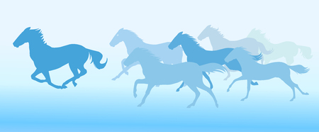 Running horses on blue background, vector illustration. 矢量图像