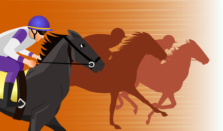 Horse race silhouette with jockey, vector illustration. Stock Vector - 91244866