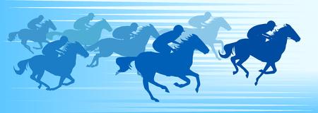 Running horses on blue background, vector illustration. 일러스트