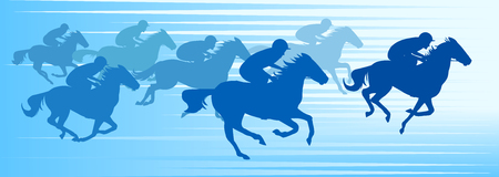 Running horses on blue background, vector illustration. Illustration