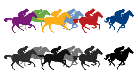 Horse race silhouette with jockey, vector illustration. Çizim