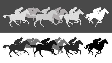Horse race silhouette with jockey, vector illustration. Vectores