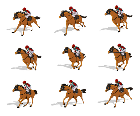Horse Run Cycle animation sheet,Horse race Silhouette, Racecourse, Jokey, Rider