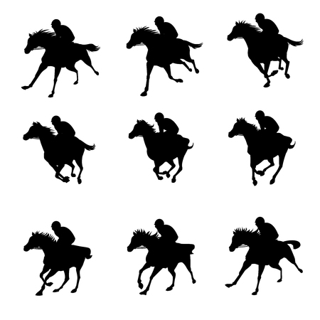 말 실행 사이클 애니메이션 시트, 경마 실루엣, 경마장, 조키, 라이더 일러스트