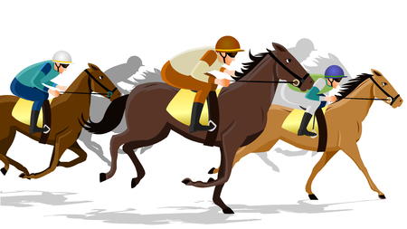 Horse race silhouette with jockey, vector illustration. Stock Vector - 91244872