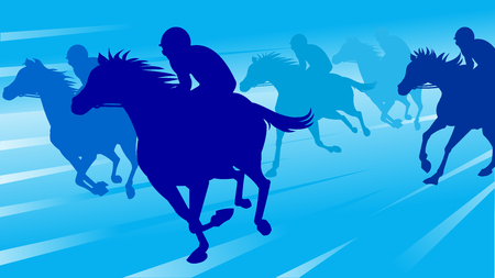 Horse race silhouette with jockey, vector illustration. Stock Vector - 91244873