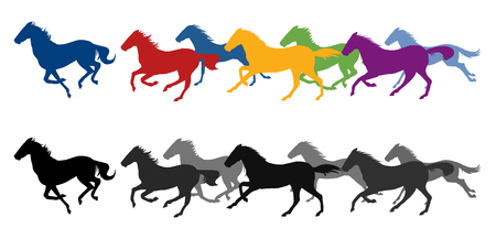 Lopende paarden silhouet