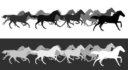 Sagoma di cavalli in esecuzione Vettoriali