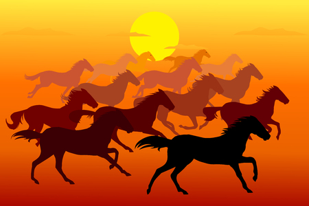 Running horses in Evening Stock Illustratie