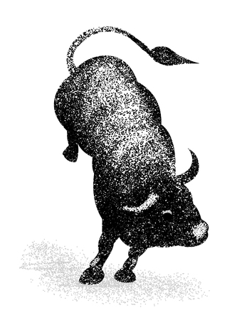 Jumping Bull Silhouette