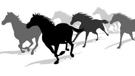Running Horses Silhouette Banque d'images - 108211953