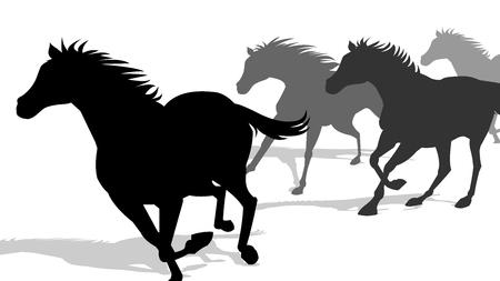 Running Horses Silhouette  イラスト・ベクター素材