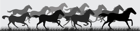 Running horses silhouettes
