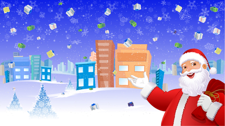 Santa Claus In Falling gifts Background, Urban background