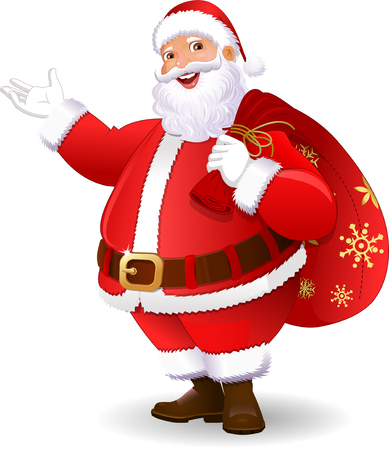 Santa Claus In White Background 일러스트