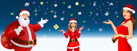 Santa Claus And Santa Girls In Falling gifts Background