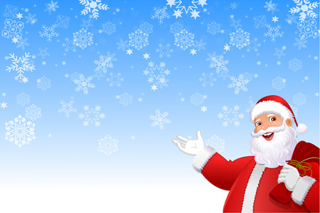 Santa Claus In snowflakes  Background