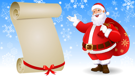 Santa Claus with scroll 矢量图像