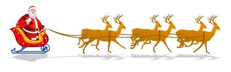 Santa Claus Sleigh, Reindeer, Christmas deer, Christmas,Gifts Illustration