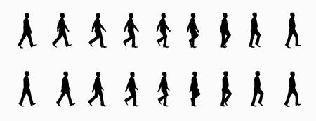 business man walk cycle animation sheet Vektorové ilustrace