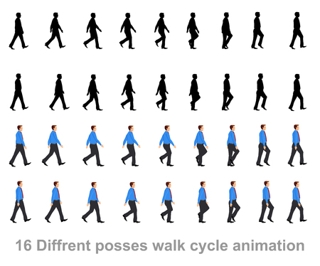 business man walk cycle animation sprite sheet Çizim