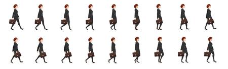 Lady lawyer walk cycle animation sprite sheet